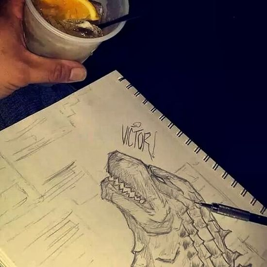 This is a quick Godzilla Sketch before the movie ..and I cant complian that Amc theather but a bar in there lobby ...um ok plz&ty Hello World My Drawings