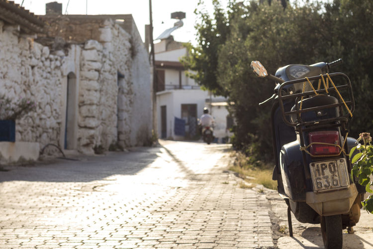 Analipsi Rural Scooter Vespa Architecture Building Exterior Built Structure Cottage Crete Day Greece Heraklion Hersonissos No People Outdoors Street Sunlight The Way Forward Tree Urban
