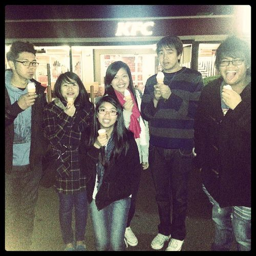Eating maccas 30cent cones at night, outside KFC, in 5 degree weather coz were totally normal like that! Maccas 30centcones KFC Triptriplang @aneras_ @xatienzax @mint0616 @mremz darylcruz