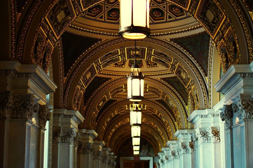Government Building Historical Places Interior Design Lights Interior Washington DC Library Of Congress Library Architecture History Built Structure Indoors  Architectural Column Low Angle View No People Illuminated