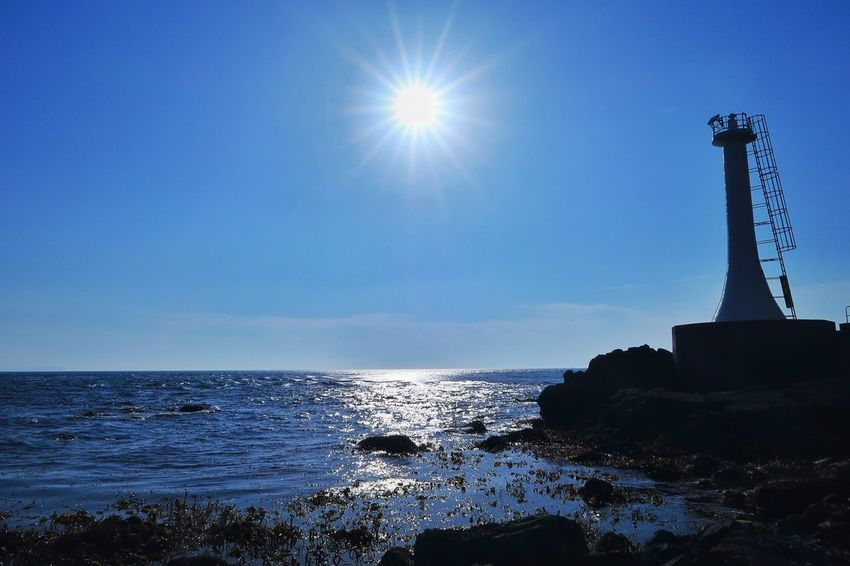 灯台 海 空 青空 島原 太陽 Lighthouse Sea Sky Blue Blue Sky Sun Sunlight Nature EyeEm Nature Lover EyeEm Best Shots Beauty In Nature 写真好き Sunset Landscape 光 Nature Lover Lens Flare Sunbeam Water Reflections
