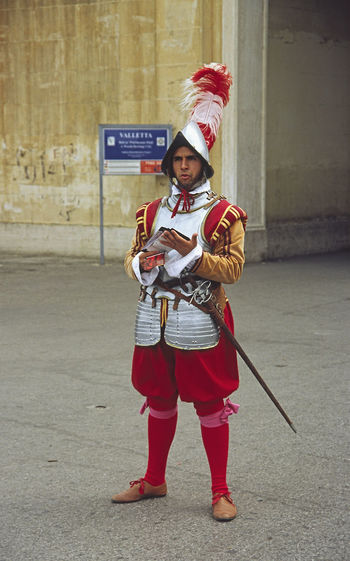 Entrance to the city of Valletta, Malta Valletta,Malta Army Soldier Day Front View Full Length Holding Lifestyles Military Uniform One Person Outdoors Portrait Real People Red Standing Uniform Weapon