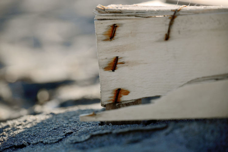 Beach Photography Box Clips Metal Clip Nails Rusted Clips Wood Beach Beachphotography Bokeh Clip Day Detail Land Nature No People Outdoors Rusted Sand Selective Focus Slivered Waste Withered  Wood - Material Wooden Box