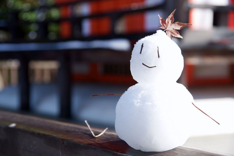 Close-Up Of Snowman On Wooden Retaining Wall