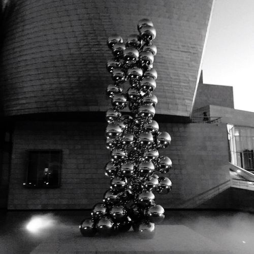 Architecture Low Angle View Decoration Metal Wall - Building Feature Large Group Of Objects Close-up Globes Balls Metal Sphere Art Art And Craft Art is Everywhere Black And White Photography Guggenheimmuseum Guggenheim Bilbao