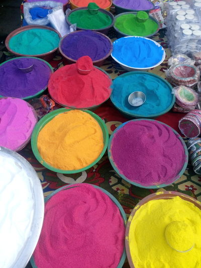 Art And Craft, Choice Circle Day Diwali For Sale Holi Indian Culture, Market Market Stall Merchandise Multi Colored No People Outdoors Powder Paint Religion Retail  Variation Vehicle Breakdown Vertical