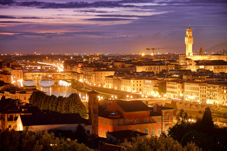 Beautiful Florence by night - Firenze Architecture Blue Building Building Exterior Built Structure City Cityscape Cloud - Sky Crowd Crowded Dusk Florence High Angle View History Illuminated Italy Night Outdoors Sky Sunset Travel Destinations