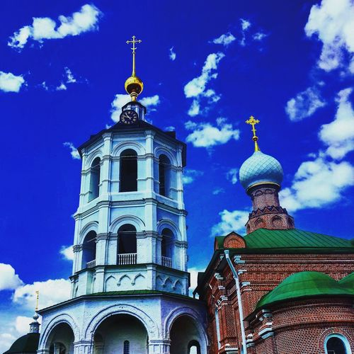 Low angle view of russian orthodox church against blue sky