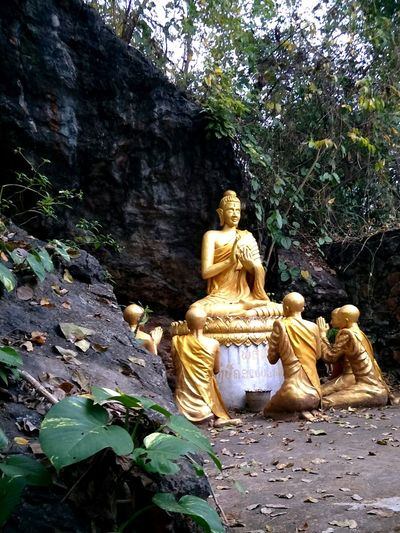 Buddhist Buddhist Temple Laos Temple Laungprabang View Shot History Old Ancient Sculpture Idol Spirituality Golden Color Buddha Human Representation Art