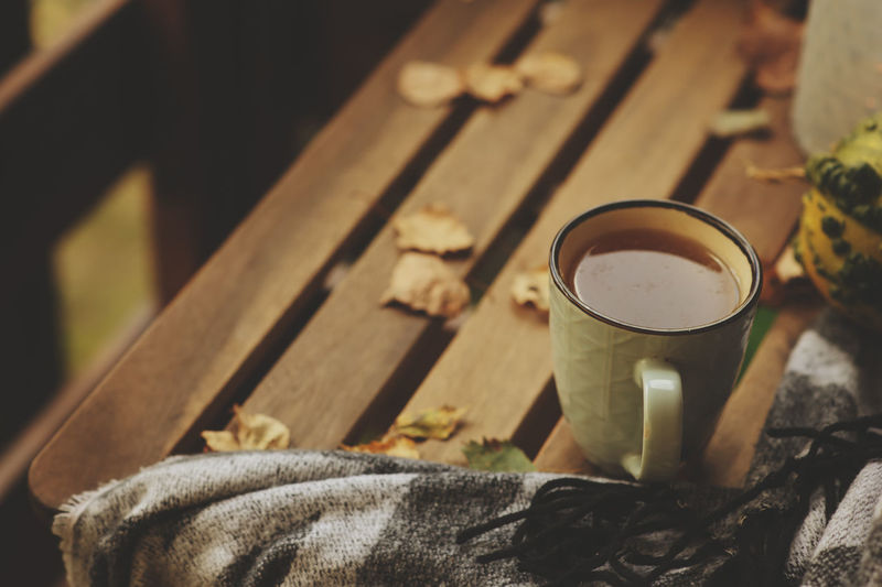 cozy autumn morning at country house, cup of tea and warm blanket on wooden table Autumn Autumn colors Calm Leaves🌿 Rural Tea Blanket Close-up Country Life Cozy Cup Drink Fall Food And Drink Glass Household Equipment Indoors  Nature No People Relax Still Life Table Warm Wood - Material
