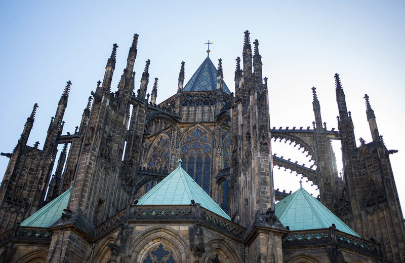 Low Angle View Of St Vitus Cathedral Against Clear Sky