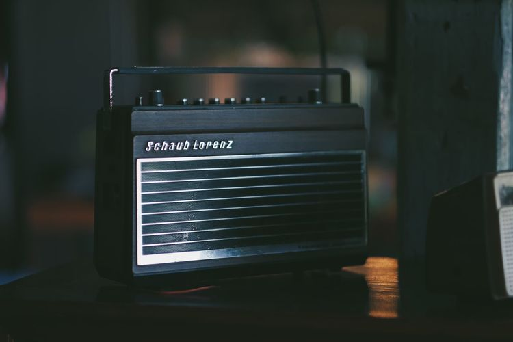 Analog Arts Culture And Entertainment Close-up Communication Focus On Foreground Indoors  Music No People Photographic Equipment Photography Themes Radio Retro Styled Single Object Still Life Table Technology Text Western Script Wireless Technology