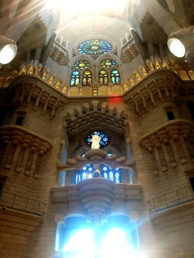 Religion Spirituality Architecture Indoors  Sunlight Sacred Sagrada Familia Multi Colored Walking Around Architecturelovers Lifestyle Barcelona SPAIN Architecturephotography Streetphotography Gaudi Time Traveller Quiet Moments Colorful Illuminated Architecture Shadow Photography Travel Destinations Turistic Places No People