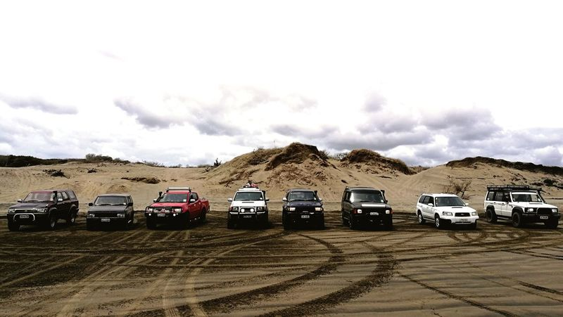 squad of teucks about to head up the beach for new years eve. 4x4 Newyears Friends 4x4 Trucks Toyota Nissan Isuzu Subaru Day Sand No People Landscape Beach Nature Sky