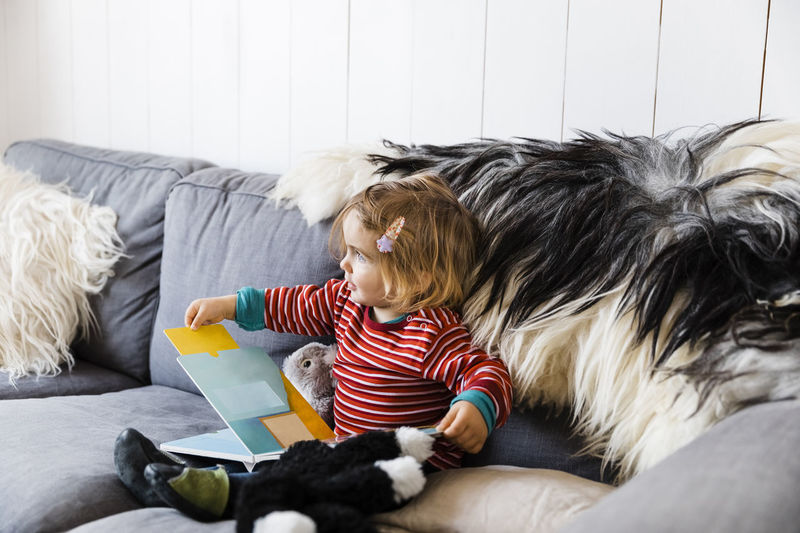 Toddler girl sitting on sofa with picture book - Hindeloopen, Friesland, Netherlands Baby Beginnings Blond Book Casual Caucasian Child Childhood Close-up Comfortable Confidence  Cozy Curiosity Cute Discovery Domestic Education Front View Full Length Fur Girl Happy Holding Home Individuality Indoors  Innocence Interior Joy Kid Learning Living Room Looking Away Netherlands One Person People Picture Book Playing Portrait Reading Relax Room Serious Sitting Sofa Studying Toddler  Touching Toy Watching Furniture Domestic Room Relaxation Casual Clothing Boys Lifestyles Hair