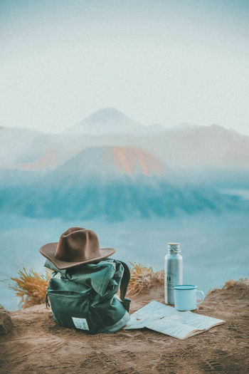 Backpacking Coffee Connected By Travel Connected With Nature Exploring Hat Hiking INDONESIA Java Map Adventure Backpack Beauty In Nature Canon Day Fog Hikingadventures Landscape Mountain Nature Nature_collection Outdoors Sky Volcano Water Second Acts Be. Ready. The Traveler - 2018 EyeEm Awards The Great Outdoors - 2018 EyeEm Awards