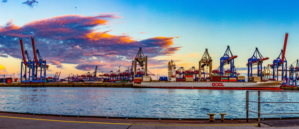 Water Sky Pier Transportation Commercial Dock Harbor Shipping  Cloud - Sky Nature Business No People Industry Mode Of Transportation Port Construction Equipment Container Container Port Container Terminal