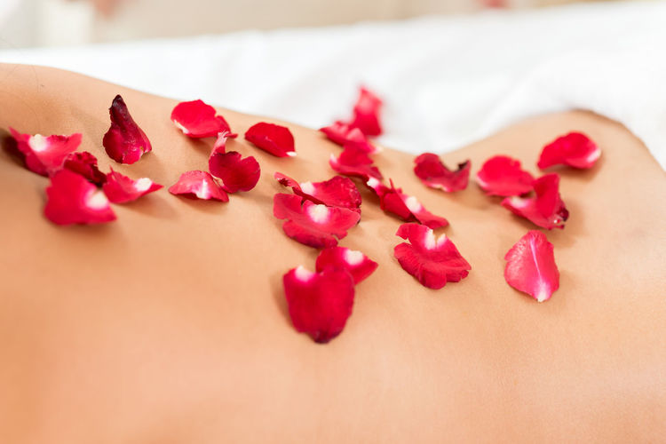 Midsection of shirtless woman with rose petals lying in spa