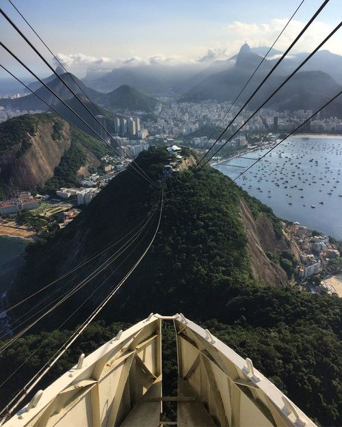 Beauty In Nature Brazil Cable City Exotic Funicular High Angle View Hills Lagoon Mountain Mountain Range Outdoors Overhead Cable Car Pão De Açucar Rio Rio De Janeiro Sugarloaf Mountain Travel Destinations