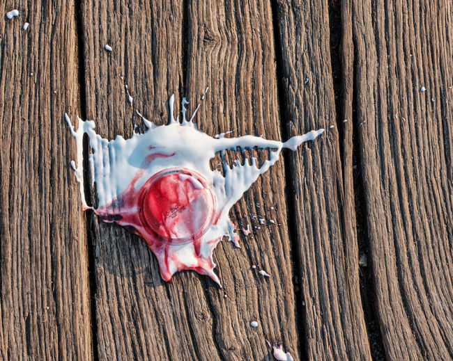 High angle view of ice cream spilled on wooden plank