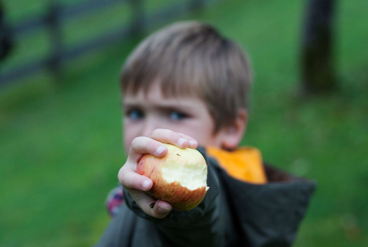 Young boy holding apple in his hand Apple Boy Child Childhood Childhood Memories Close-up Day Eating Apple Family Healthy Eating Healthy Lifestyle Holding Joy Of Life Joyful Joyful Moments Kid Local Landmark One Person Organic Apples Organic Food Outdoors People Play Vegetable Vegetarian Food