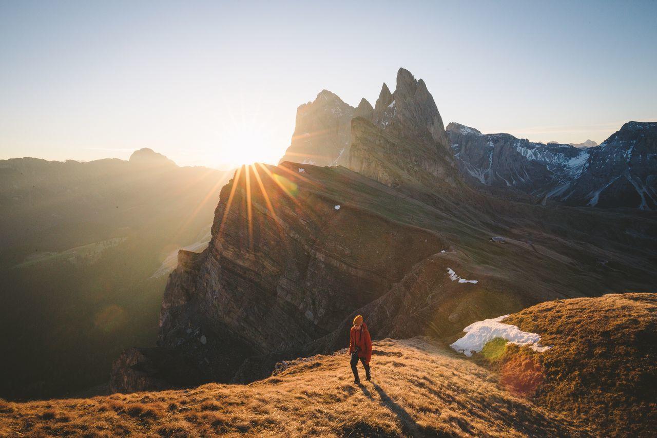 mountain, sunlight, nature, adventure, beauty in nature