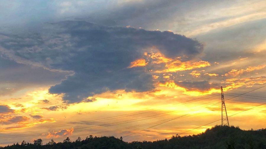 Cloud - Sky Sky Sunset Beauty In Nature Tree Technology Electricity Pylon