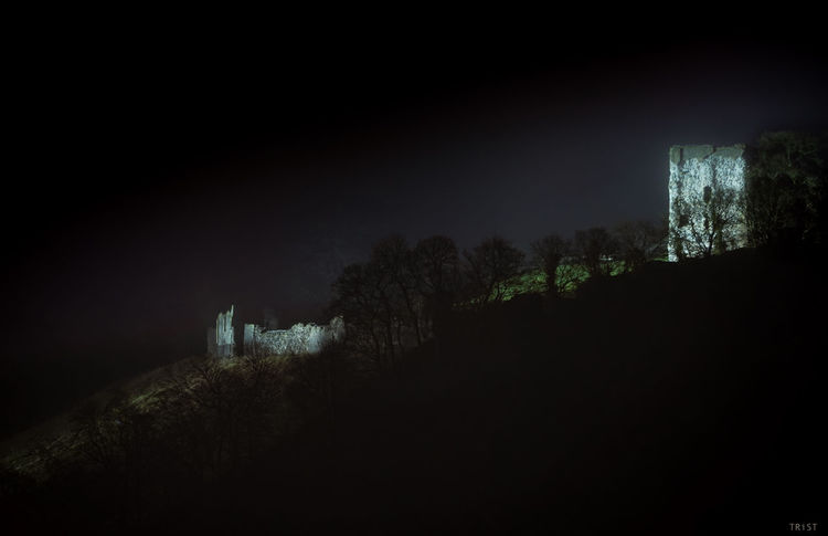 Astronomy Beauty In Nature Castle Dark Landscape Midnight Nature Night No People Outdoors Peveril Castle Sky Spooky Tower Tree