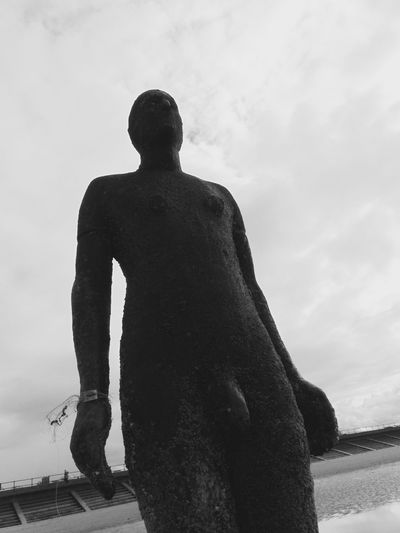 Black & White Black And White Black And White Collection  Black And White Photography Blackandwhite Blackandwhite Photography Cloud - Sky Cloudy Creativity Crosby Beach Day Human Representation Low Angle View Outdoors Sculpture Silhouette Sky Standing Sunlight