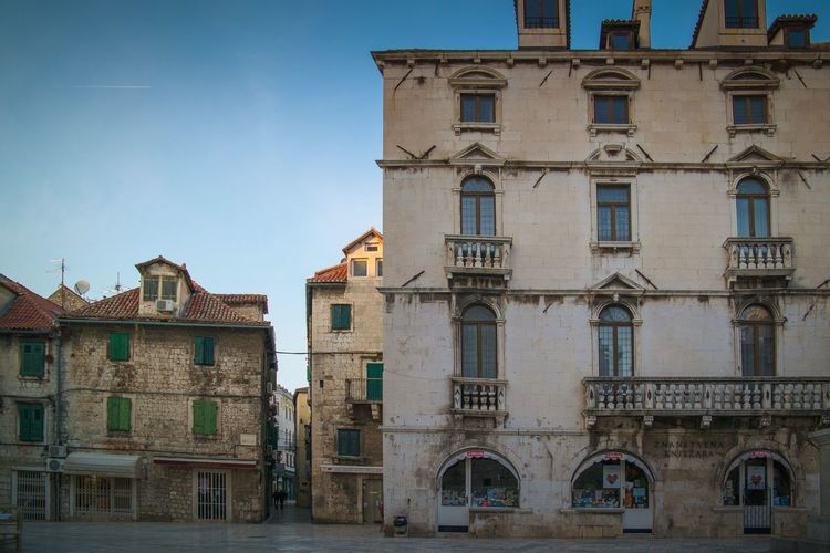 Low angle view of buildings in city. historical buildings in the city center of split, croatia.