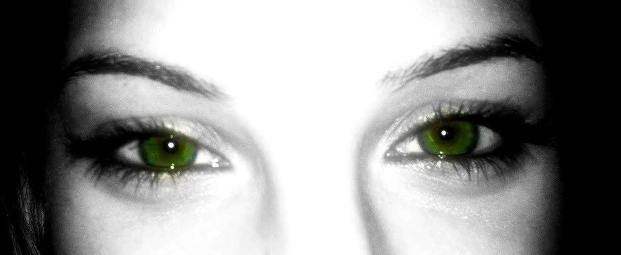 Looking At Camera Human Eye Portrait Women Real People Beautiful Woman Eyesight Green Eyes. Black And White Portrait