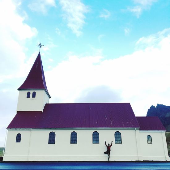 Building Exterior Architecture Sky Place Of Worship Religion Outdoors No People Cloud - Sky Day Yoga Pose Tree Pose Icelandic Church