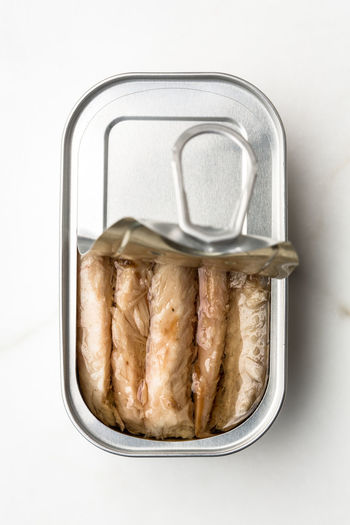 canned mackerel Can Canned Fish Canned Food Container Convenience Food Directly Above Fish Food Food And Drink Mackerel Metal Silver Colored Snack Steel Studio Shot White Background