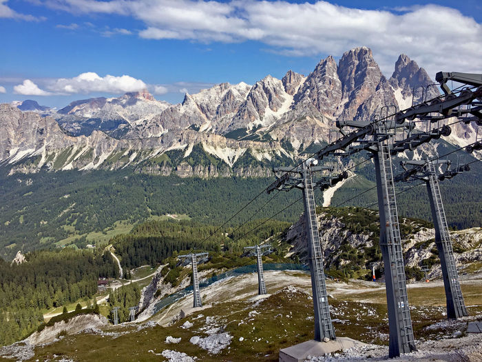 Mountain Mountain Range Beauty In Nature Sky Cloud - Sky Cold Temperature Scenics - Nature Environment Tranquil Scene Rock Day Tranquility No People Snowcapped Mountain Formation Mountain Peak Outdoors Ski-lift Summer Travel