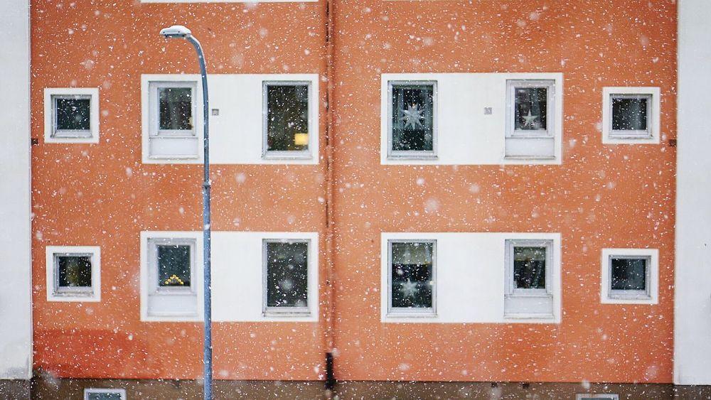 Snow Snowing Christmas North Of Sweden Örnsköldsvik City View