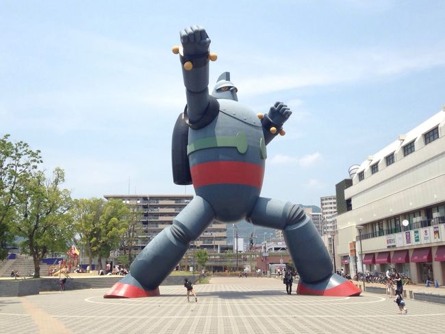 Robot no.28 Iron Bot Robot Manga Sunny Day Kobe Kansai Japan Walk Around Signseeing Giant Big Bot Hot Day