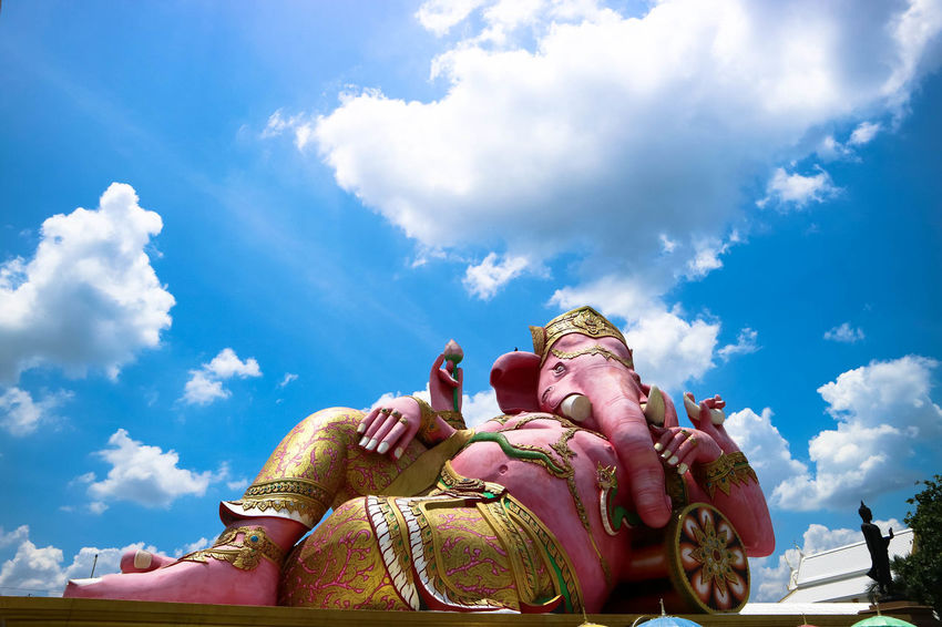 Architecture Cloud - Sky Day Ganesha Ganesha Lord Of Success Low Angle View One Person Outdoors People Real People Religion Sky พระพิฆเนศ The Great Outdoors - 2017 EyeEm Awards
