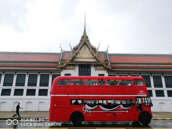 Red Redbus Tradition Journey Thailandstyle Thailand Travel