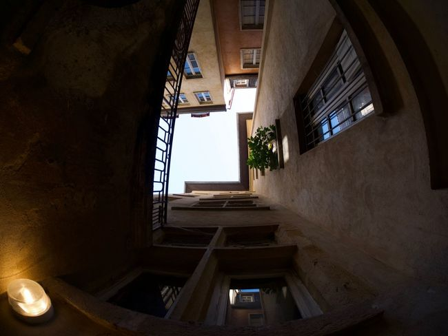 Abandoned Architecture Building Built Structure Ceiling Day Directly Below Door House Indoors  Low Angle View Nature No People Old Railing Residential District Spiral Staircase Steps And Staircases Window