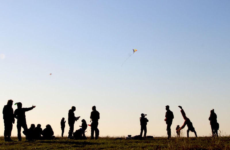 Silhouette people flying kite on field against clear sky during sunny day