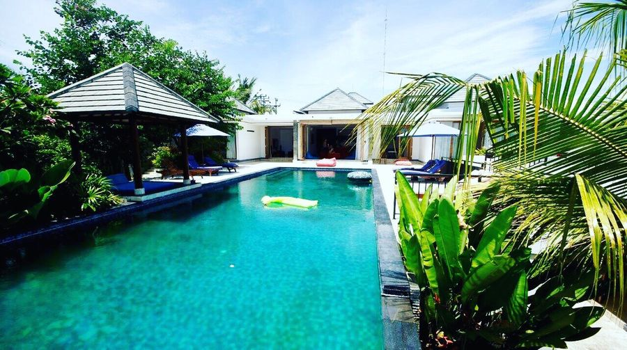 Private Villa Poolparty Bali Palm Tree Poolnoodle Balilove Infinity Pool