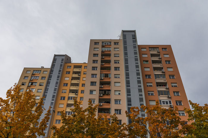 Sky Architecture Tree Low Angle View Built Structure Building Exterior No People Building Outdoors City Growth Residential District Apartment Multi Storey Urban Window Apartment Buildings Colorful High Rise Building