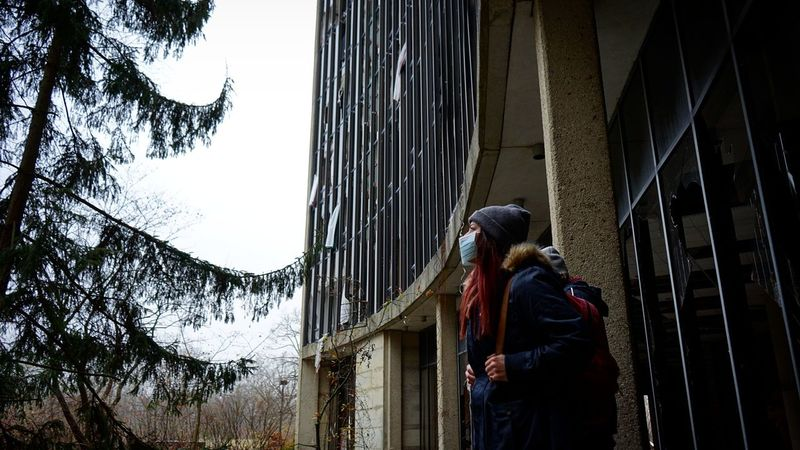 One Person Outdoors Warm Clothing Tree Sky Urban Exploration Damaged Abandoned Exploring Day Cold Temperature Winter Facemask Portrait Hospital Overgrown