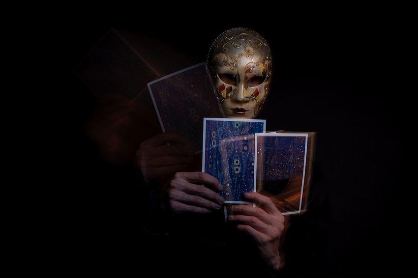 EyeEm Selects Studio Shot Creepy Atmoshpere Venician Mask Tarotcards Black Background Spiritual Long Exposure Fortune Teller Darkside EyeEmNewHere