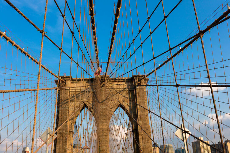 Architecture Blue Bridge - Man Made Structure Built Structure Cable Capital Cities  Cloud Connection Day Engineering Famous Place Low Angle View Modern New York No People Outdoors Part Of Sky Suspension Bridge Tourism Travel Destinations