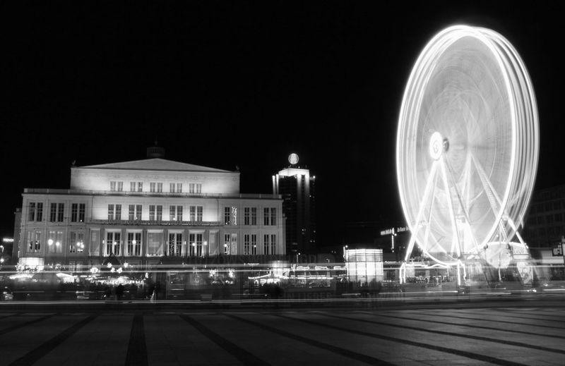 Night Blackandwhite Black And White Black & White Augustusplatz Riesenrad