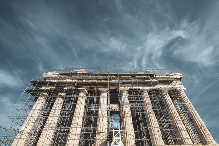 Acropolis Athens Greece Acropolis Built Structure Architecture Building Exterior Sky Low Angle View Cloud - Sky Nature Building No People Day Outdoors Industry City Travel Storm Sunlight Travel Destinations History Tourism