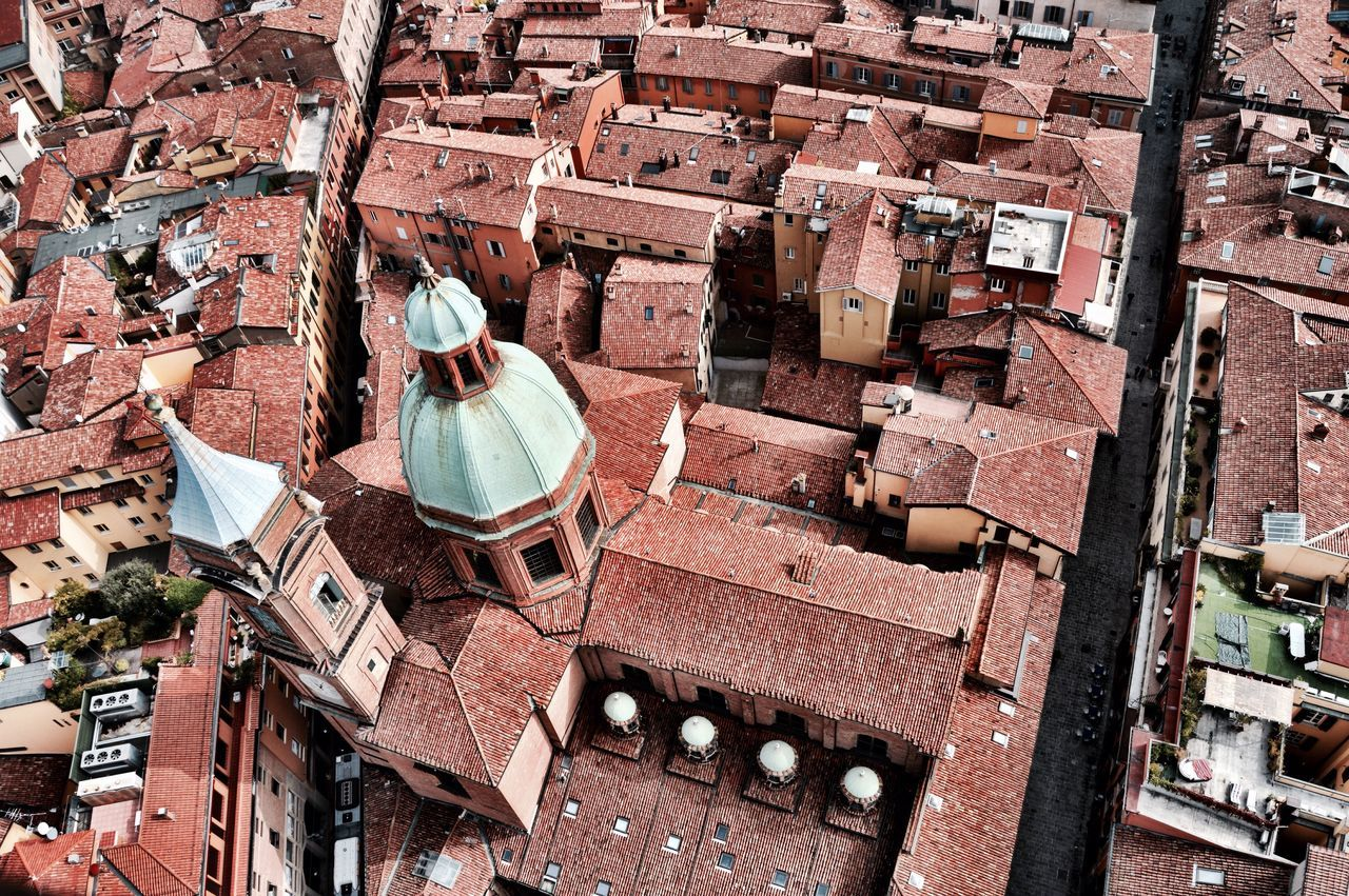 Aerial VIEW OF Church Rooftop In Bologna, Italy