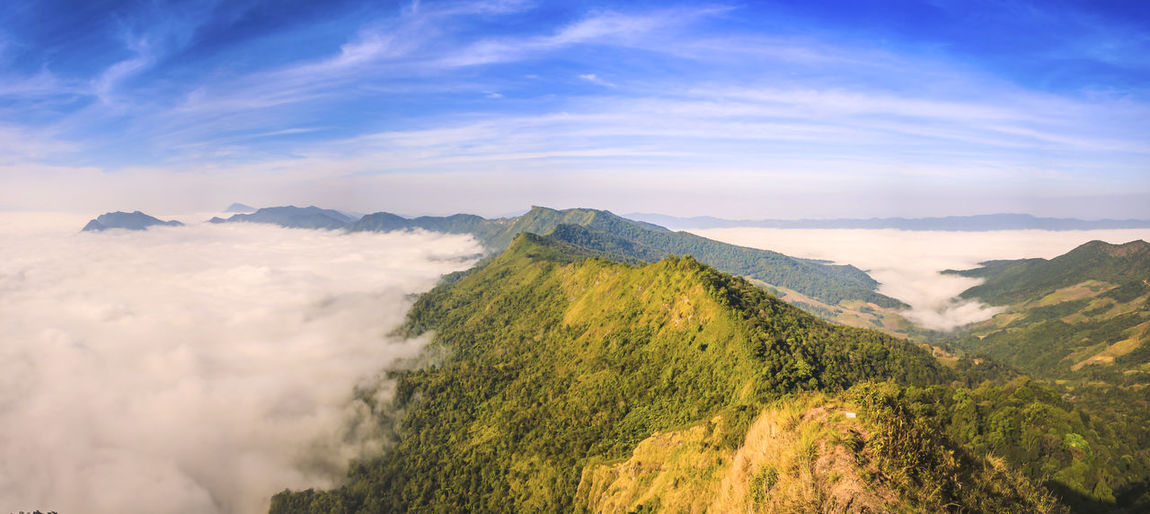 Misty Over The Mountains The Great Outdoors - 2018 EyeEm Awards Misty Beauty In Nature Blue Cloud - Sky Day Environment Fog Idyllic Landscape Mountain Mountain Peak Mountain Range Nature No People Non-urban Scene Outdoors Phuchidao Remote Scenics - Nature Sky Tranquil Scene Tranquility Travel Destinations Mist