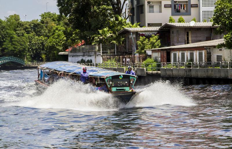 Bangkok klong Boat Day Mode Of Transport Outdoors Speed Transportation Travel Water